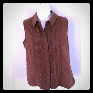 White Stag Brown Lacy ButtonDown Sleeveless Top-M